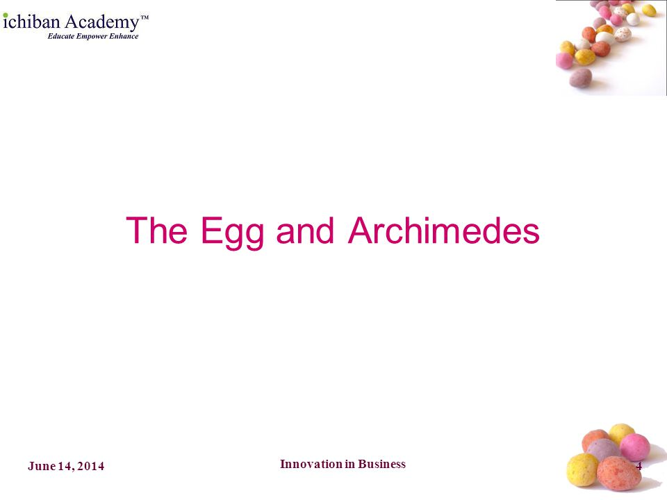 Innovation in Business 4June 14, 2014 The Egg and Archimedes