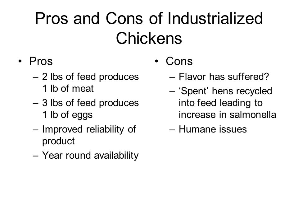 Pros and Cons of Industrialized Chickens Pros –2 lbs of feed produces 1 lb of meat –3 lbs of feed produces 1 lb of eggs –Improved reliability of product –Year round availability Cons –Flavor has suffered.