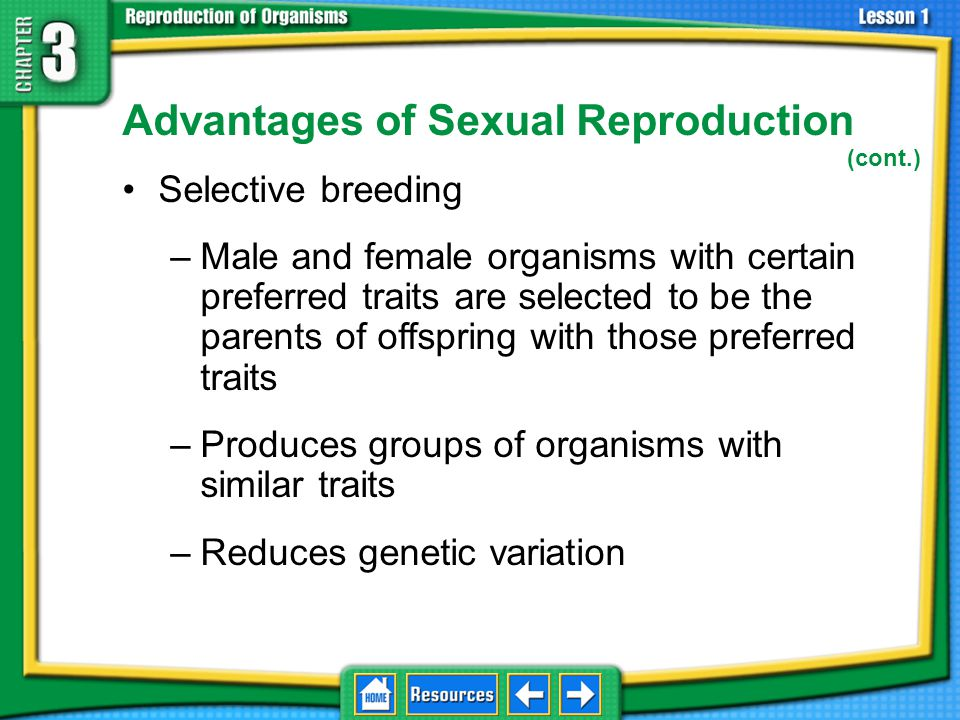 Advantages of Sexual Reproduction Genetic variation –Variety of genetic traits in a population of the same species –Can help a species survive changes in environmental conditions 3.1 Sexual Reproduction and Meiosis
