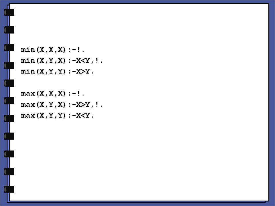 min(X,X,X):-!.min(X,Y,X):-X<Y,!.min(X,Y,Y):-X>Y.max(X,X,X):-!.max(X,Y,X):-X>Y,!.max(X,Y,Y):-X<Y.