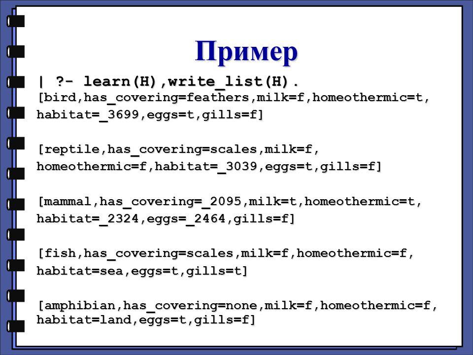 Пример | - learn(H),write_list(H).