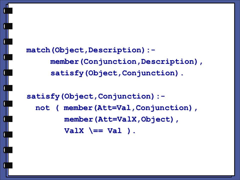 match(Object,Description):-member(Conjunction,Description),satisfy(Object,Conjunction).satisfy(Object,Conjunction):- not ( member(Att=Val,Conjunction), member(Att=ValX,Object), member(Att=ValX,Object), ValX \== Val ).
