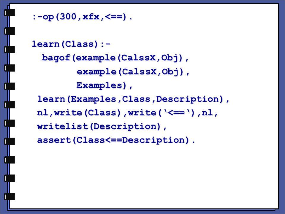 :-op(300,xfx,<==).learn(Class):-bagof(example(CalssX,Obj), example(CalssX,Obj), example(CalssX,Obj), Examples), Examples), learn(Examples,Class,Description), learn(Examples,Class,Description), nl,write(Class),write(<==),nl, nl,write(Class),write(<==),nl, writelist(Description), writelist(Description), assert(Class<==Description).
