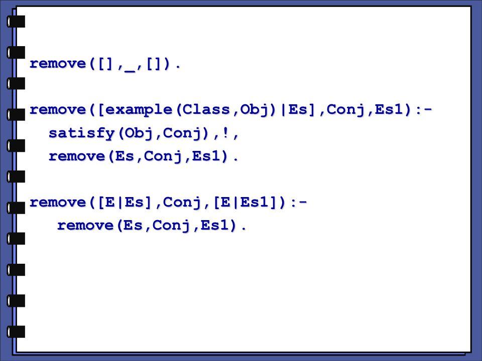 remove([],_,[]).remove([example(Class,Obj)|Es],Conj,Es1):- satisfy(Obj,Conj),!, satisfy(Obj,Conj),!, remove(Es,Conj,Es1).