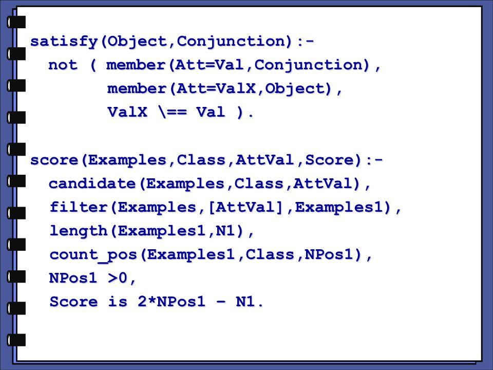 satisfy(Object,Conjunction):- not ( member(Att=Val,Conjunction), member(Att=ValX,Object), member(Att=ValX,Object), ValX \== Val ).