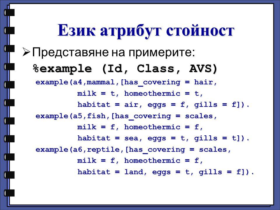 Език атрибут стойност Представяне на примерите: %example (Id, Class, AVS) example(a4,mammal,[has_covering = hair, milk = t, homeothermic = t, habitat = air, eggs = f, gills = f]).