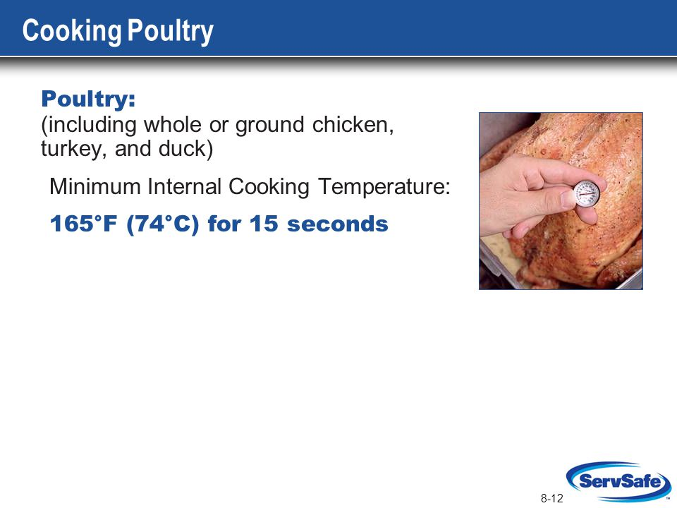 8-12 Cooking Poultry Poultry: (including whole or ground chicken, turkey, and duck) Minimum Internal Cooking Temperature: 165°F (74°C) for 15 seconds