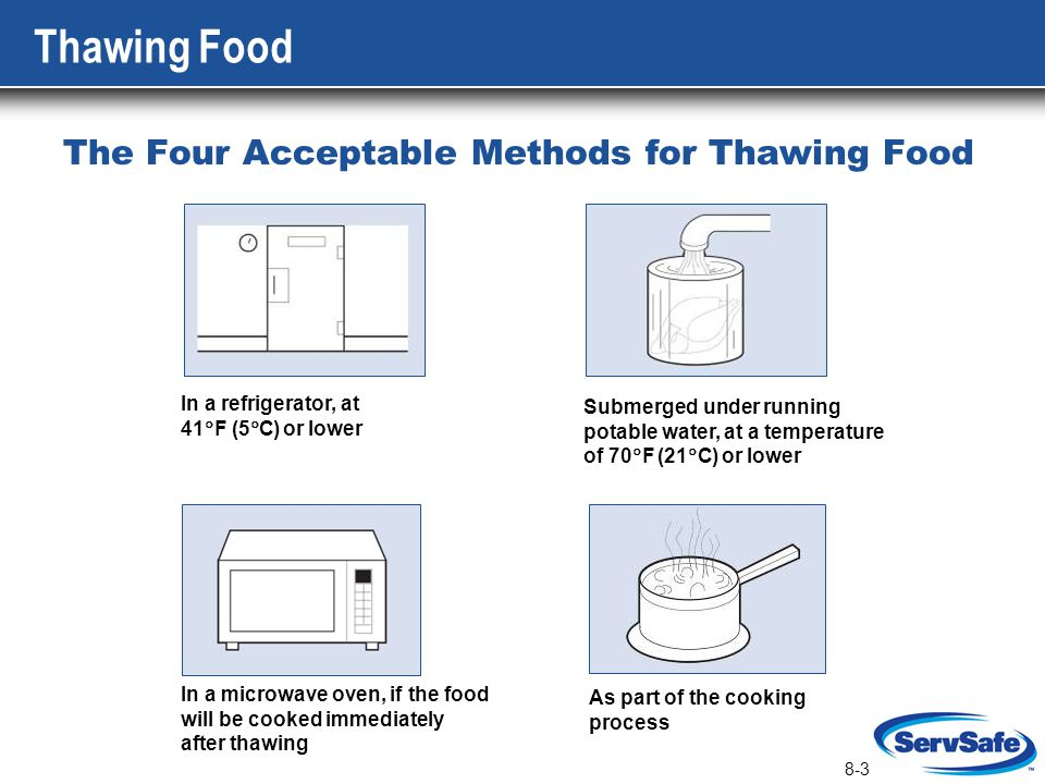 8-3 Thawing Food The Four Acceptable Methods for Thawing Food In a refrigerator, at 41 F (5 C) or lower Submerged under running potable water, at a te