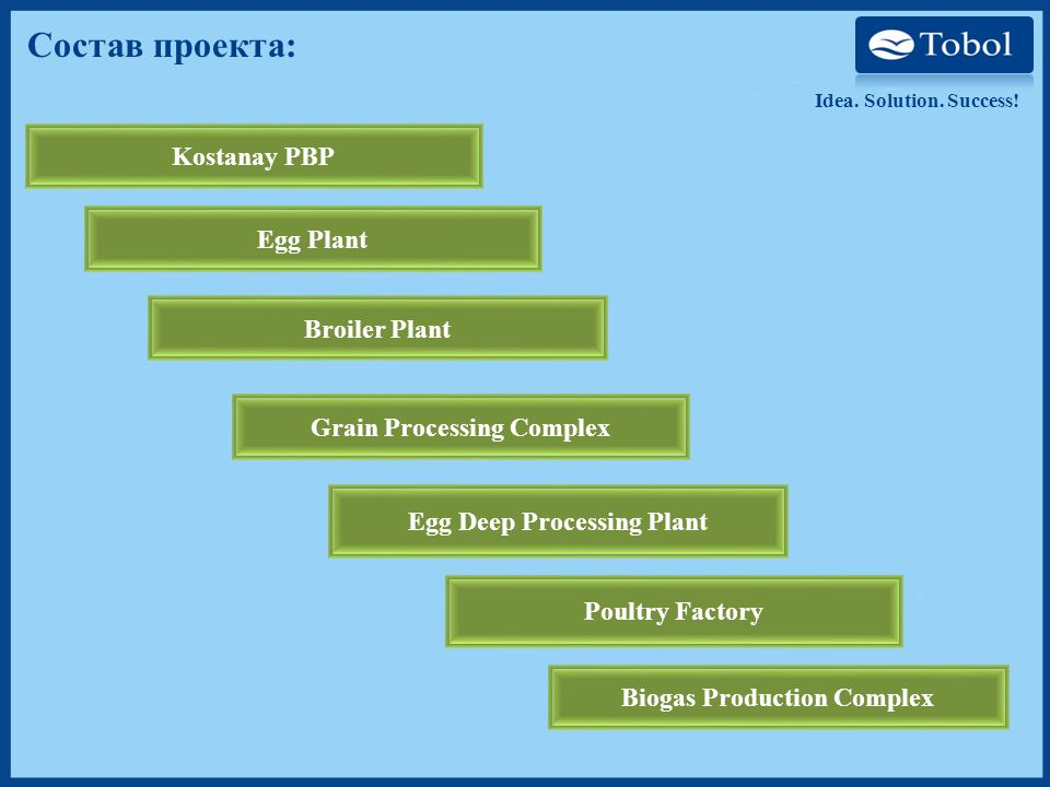 Состав проекта: Kostanay PBP Egg Plant Broiler Plant Grain Processing Complex Egg Deep Processing Plant Poultry Factory Biogas Production Complex Idea.