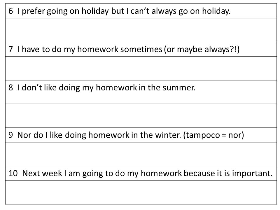 6 I prefer going on holiday but I cant always go on holiday.