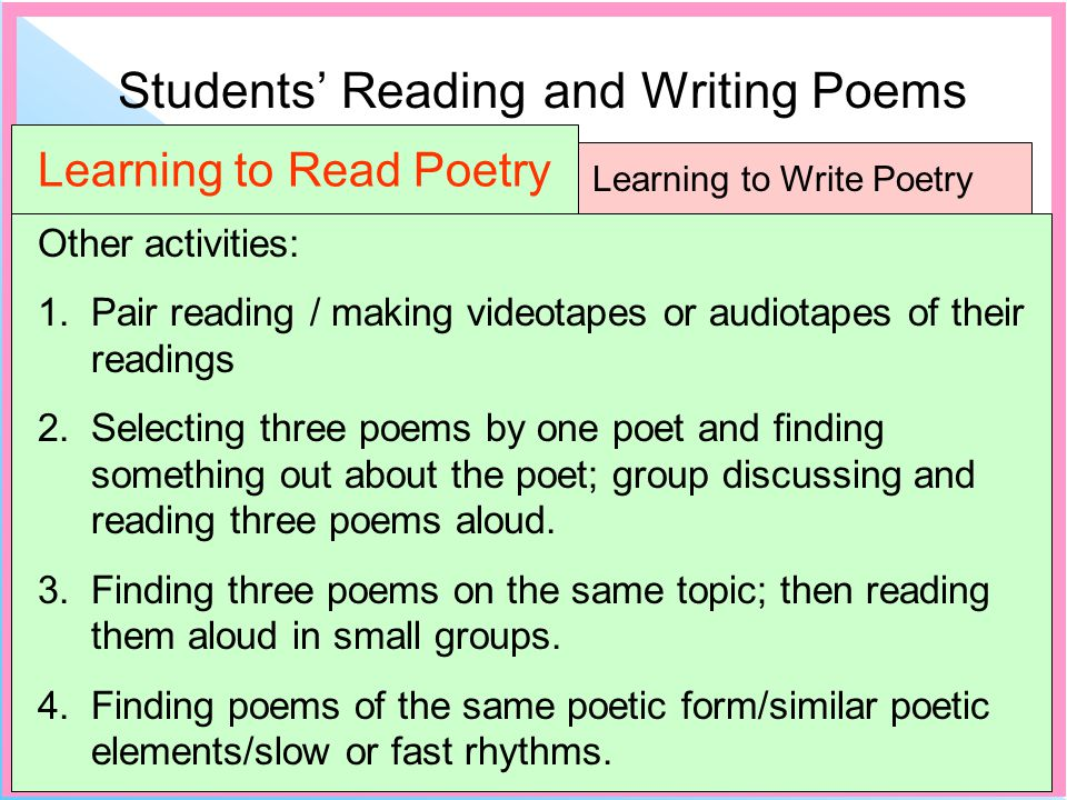 Students Reading and Writing Poems Learning to Write Poetry Learning to Read Poetry Other activities: 1.Pair reading / making videotapes or audiotapes of their readings 2.Selecting three poems by one poet and finding something out about the poet; group discussing and reading three poems aloud.