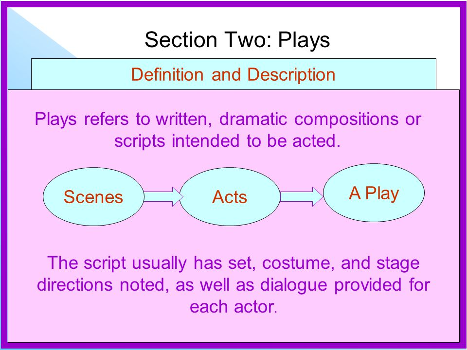 Section Two: Plays Definition and Description Plays refers to written, dramatic compositions or scripts intended to be acted.