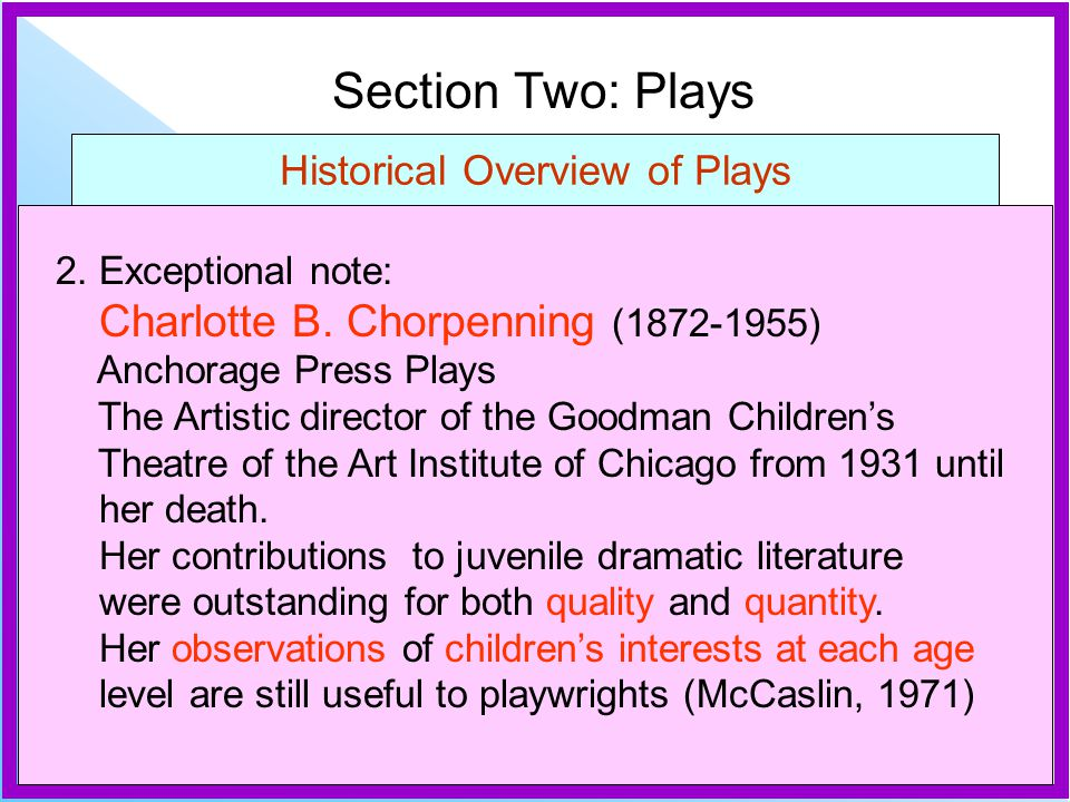 Section Two: Plays Historical Overview of Plays 2. Exceptional note: Charlotte B. Chorpenning (1872-1955) Anchorage Press Plays The Artistic director