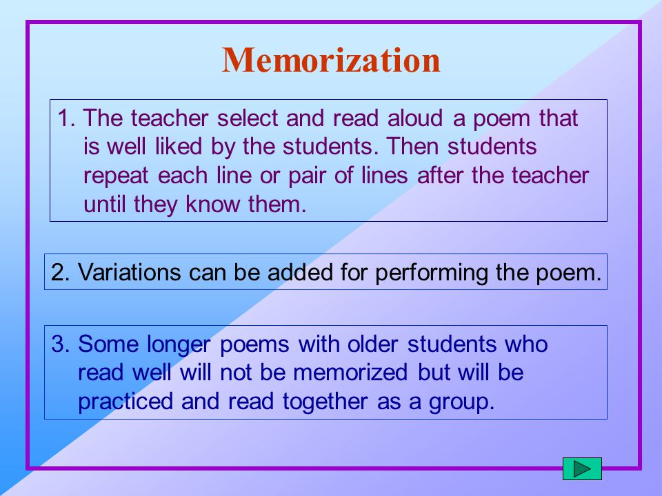 Memorization 1. The teacher select and read aloud a poem that is well liked by the students. Then students repeat each line or pair of lines after the
