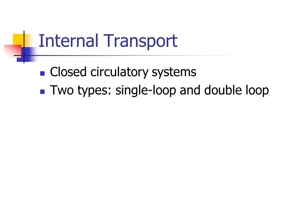 Internal Transport Closed circulatory systems Two types: single-loop and double loop