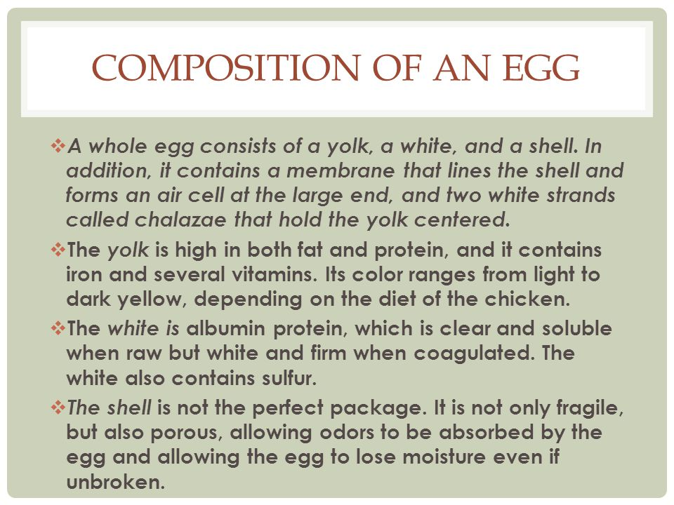 COMPOSITION OF AN EGG A whole egg consists of a yolk, a white, and a shell. In addition, it contains a membrane that lines the shell and forms an air