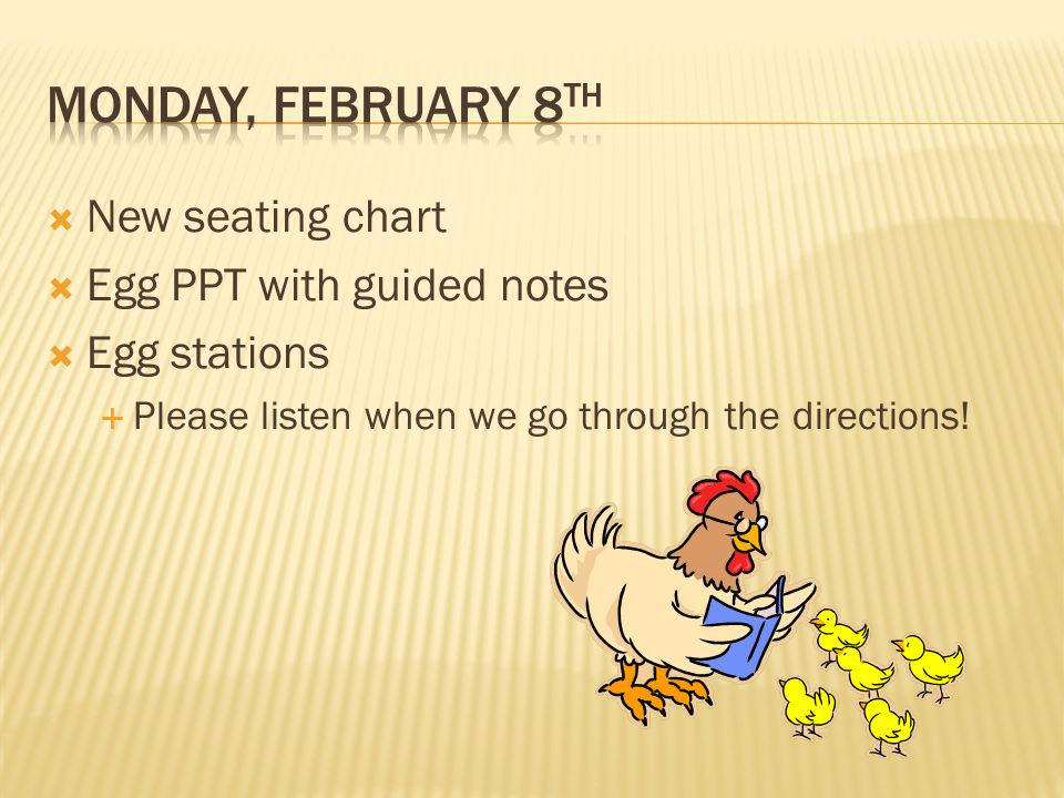 New seating chart Egg PPT with guided notes Egg stations Please listen when we go through the directions!