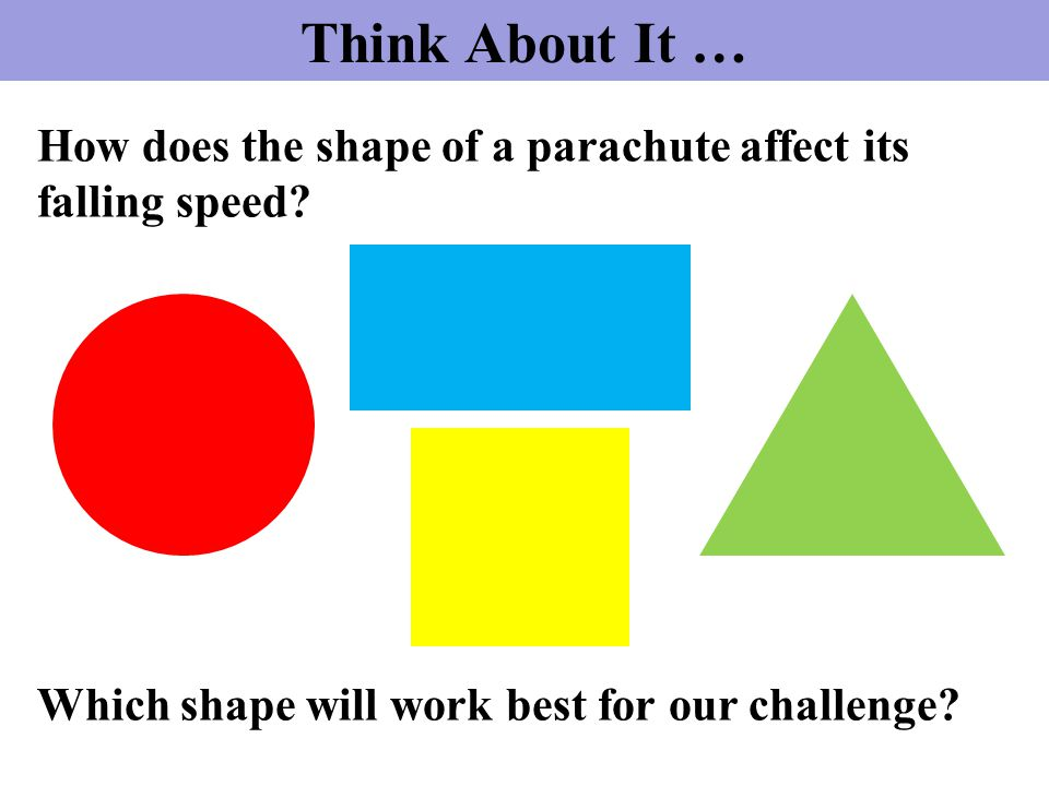 How does the shape of a parachute affect its falling speed? Which shape will work best for our challenge? Think About It …