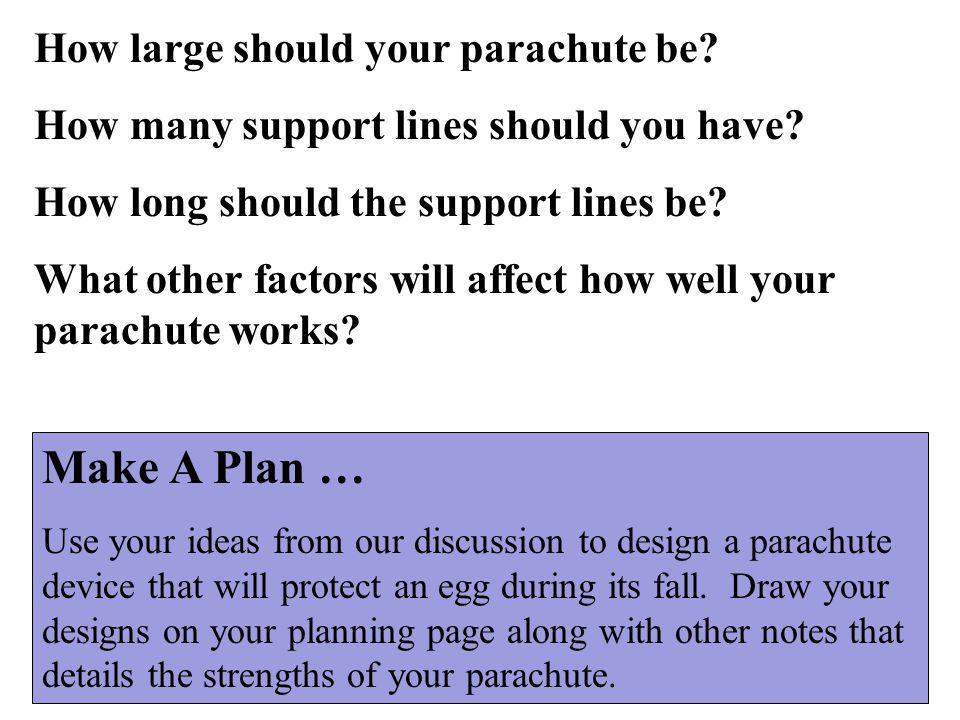 How large should your parachute be? How many support lines should you have? How long should the support lines be? What other factors will affect how w