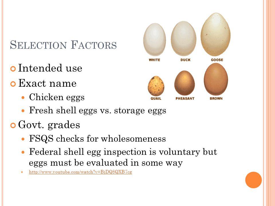 S ELECTION F ACTORS Intended use Exact name Chicken eggs Fresh shell eggs vs. storage eggs Govt. grades FSQS checks for wholesomeness Federal shell eg