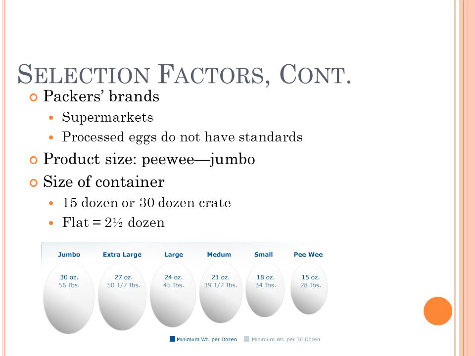 S ELECTION F ACTORS, C ONT. Packers brands Supermarkets Processed eggs do not have standards Product size: peeweejumbo Size of container 15 dozen or 3