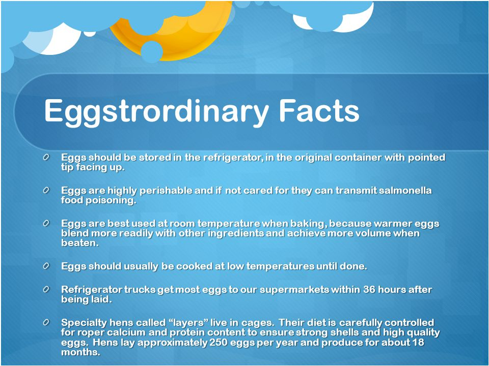 Eggstrordinary Facts Eggs should be stored in the refrigerator, in the original container with pointed tip facing up. Eggs are highly perishable and i
