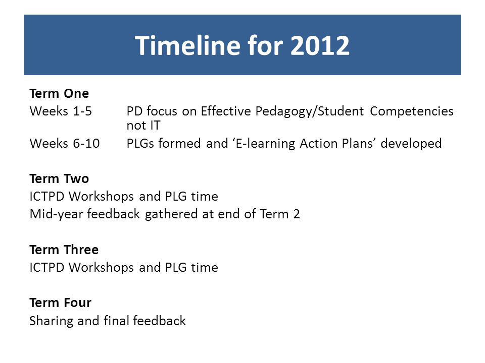 Timeline for 2012 Term One Weeks 1-5 PD focus on Effective Pedagogy/Student Competencies not IT Weeks 6-10 PLGs formed and E-learning Action Plans developed Term Two ICTPD Workshops and PLG time Mid-year feedback gathered at end of Term 2 Term Three ICTPD Workshops and PLG time Term Four Sharing and final feedback