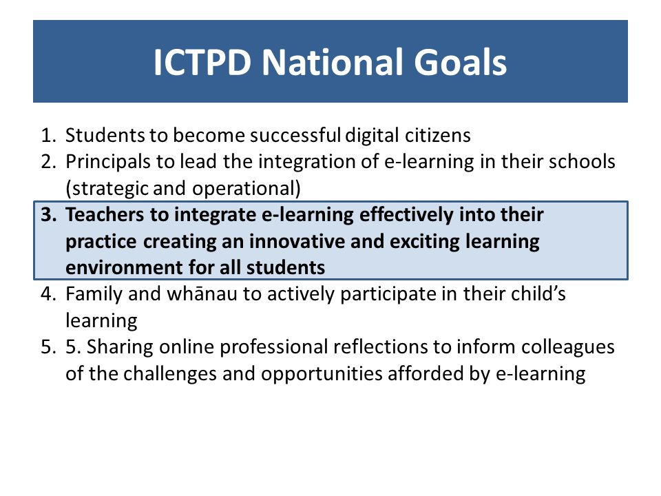 ICTPD National Goals 1.Students to become successful digital citizens 2.Principals to lead the integration of e-learning in their schools (strategic and operational) 3.Teachers to integrate e-learning effectively into their practice creating an innovative and exciting learning environment for all students 4.Family and whānau to actively participate in their childs learning 5.5.