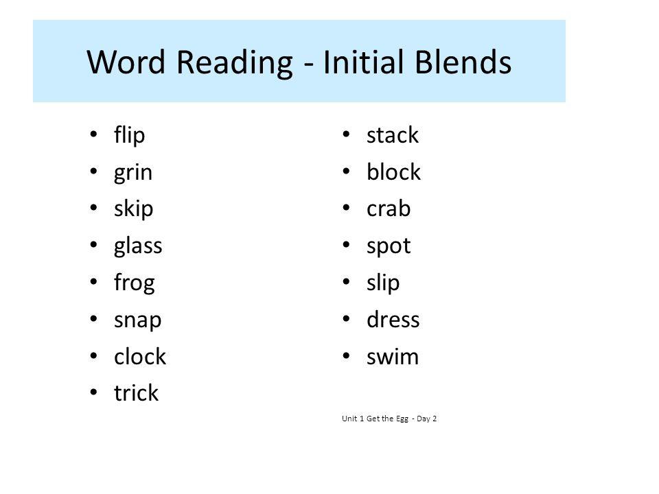 Word Reading - Initial Blends flip grin skip glass frog snap clock trick stack block crab spot slip dress swim Unit 1 Get the Egg - Day 2