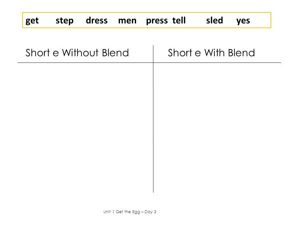 Short e Without Blend Short e With Blend Unit 1 Get the Egg – Day 3 getstepdress menpress tellsledyes