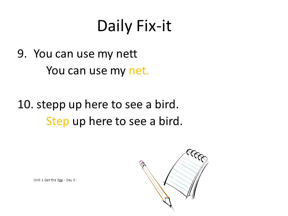 Daily Fix-it 9.You can use my nett You can use my net. 10. stepp up here to see a bird. Step up here to see a bird. Unit 1 Get the Egg - Day 5
