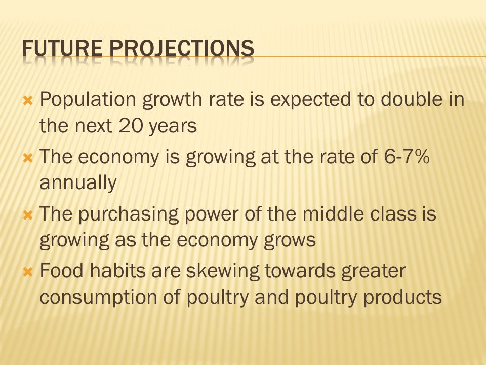 Population growth rate is expected to double in the next 20 years The economy is growing at the rate of 6-7% annually The purchasing power of the middle class is growing as the economy grows Food habits are skewing towards greater consumption of poultry and poultry products