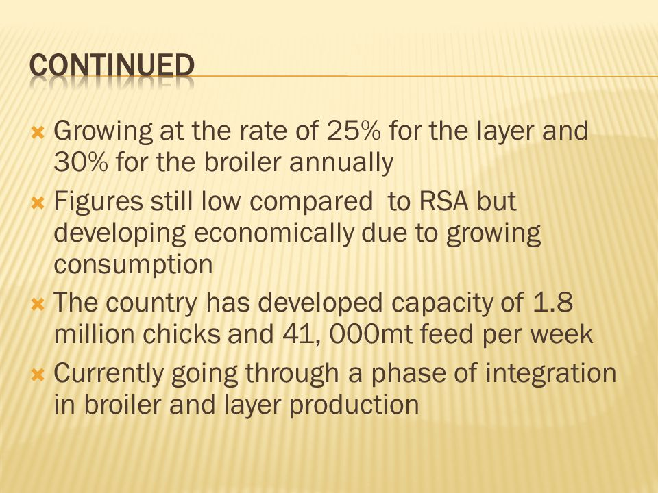 Growing at the rate of 25% for the layer and 30% for the broiler annually Figures still low compared to RSA but developing economically due to growing consumption The country has developed capacity of 1.8 million chicks and 41, 000mt feed per week Currently going through a phase of integration in broiler and layer production