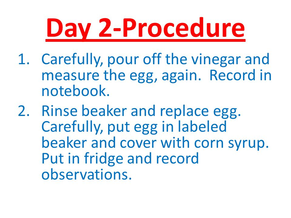 Day 2-Procedure 1.Carefully, pour off the vinegar and measure the egg, again. Record in notebook. 2.Rinse beaker and replace egg. Carefully, put egg i