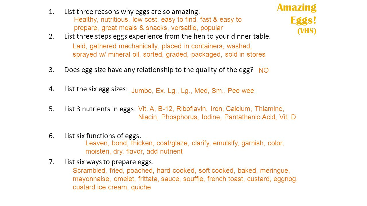 Amazing Eggs.(VHS) 1.List three reasons why eggs are so amazing.
