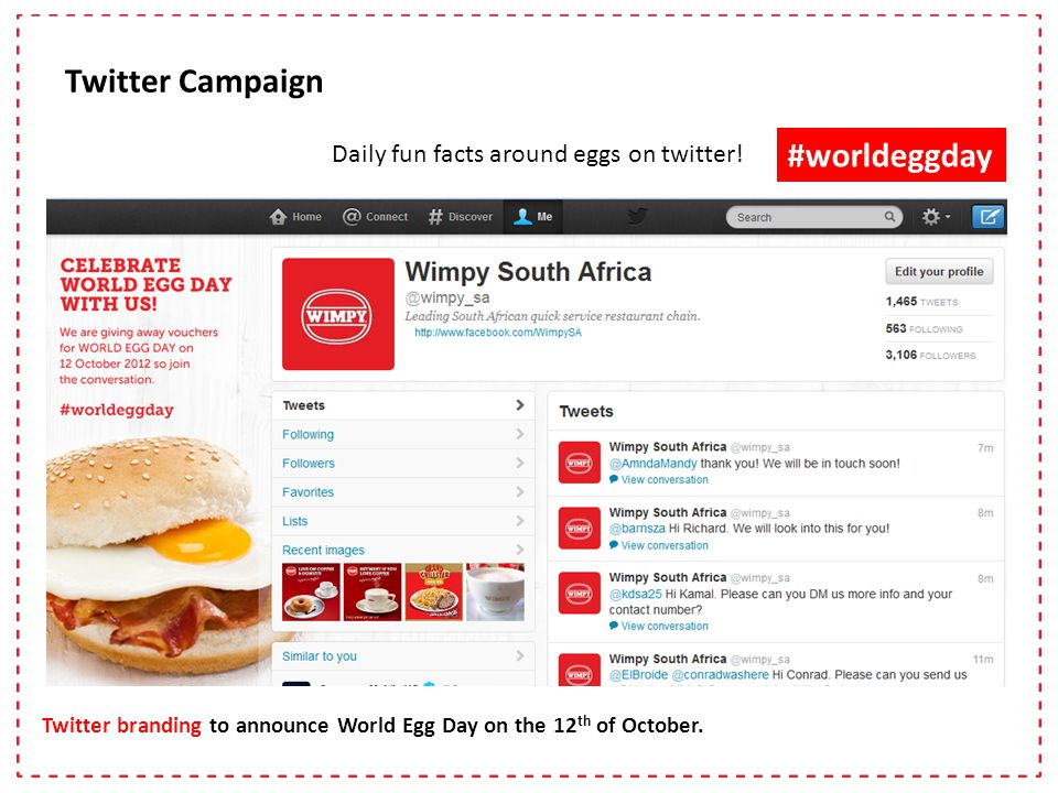 Twitter branding to announce World Egg Day on the 12 th of October.