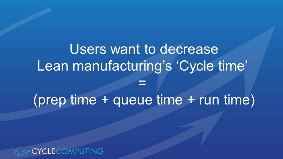Users want to decrease Lean manufacturings Cycle time = (prep time + queue time + run time)