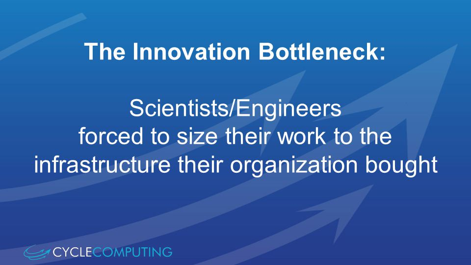 The Innovation Bottleneck: Scientists/Engineers forced to size their work to the infrastructure their organization bought