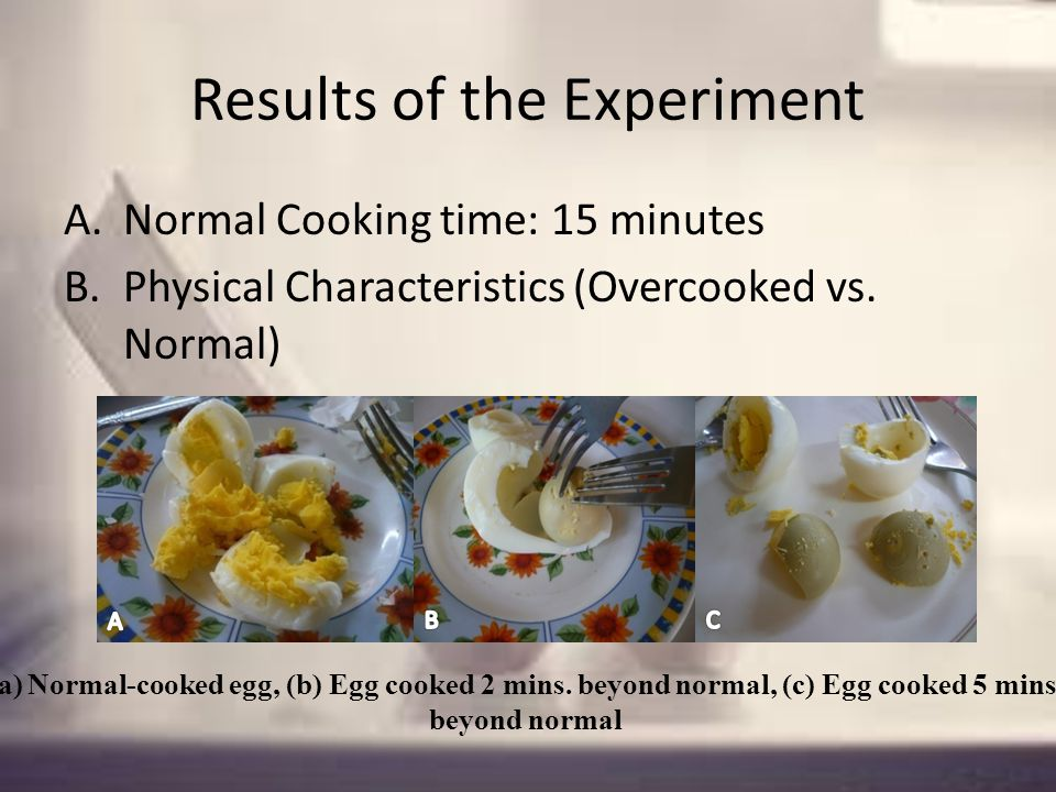 Results of the Experiment A.Normal Cooking time: 15 minutes B.Physical Characteristics (Overcooked vs.