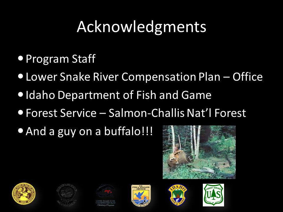 Acknowledgments Program Staff Program Staff Lower Snake River Compensation Plan – Office Lower Snake River Compensation Plan – Office Idaho Department