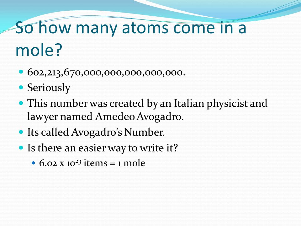 Converting between mass and atoms The next step is converting a given mass of an element into a number of atoms.