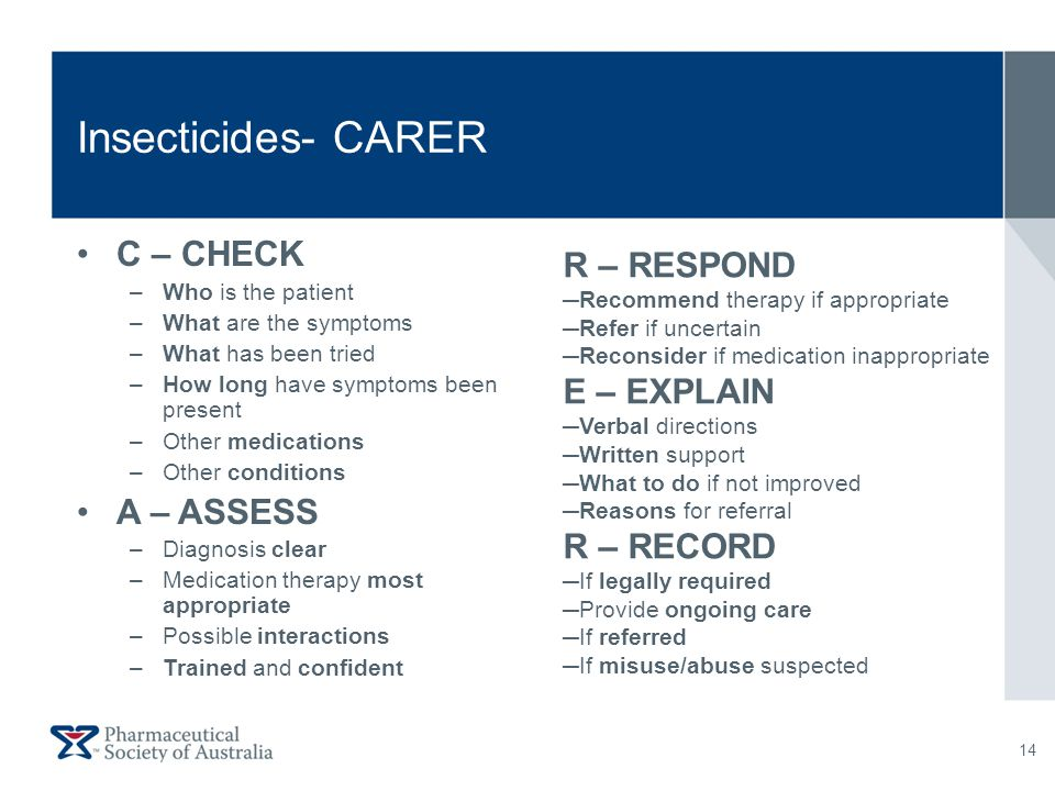 Insecticides- CARER C – CHECK –Who is the patient –What are the symptoms –What has been tried –How long have symptoms been present –Other medications
