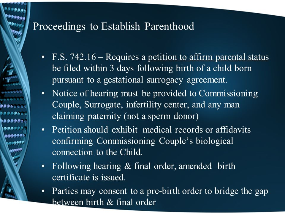 Proceedings to Establish Parenthood F.S.