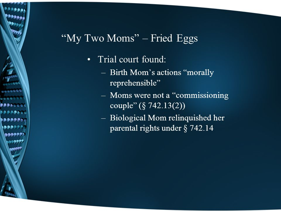My Two Moms – Fried Eggs Trial court found: –Birth Moms actions morally reprehensible –Moms were not a commissioning couple (§ 742.13(2)) –Biological Mom relinquished her parental rights under § 742.14