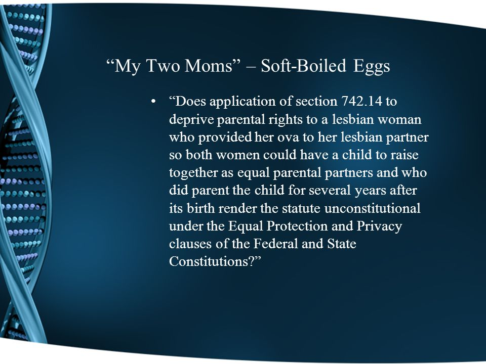 My Two Moms – Soft-Boiled Eggs Does application of section 742.14 to deprive parental rights to a lesbian woman who provided her ova to her lesbian partner so both women could have a child to raise together as equal parental partners and who did parent the child for several years after its birth render the statute unconstitutional under the Equal Protection and Privacy clauses of the Federal and State Constitutions?