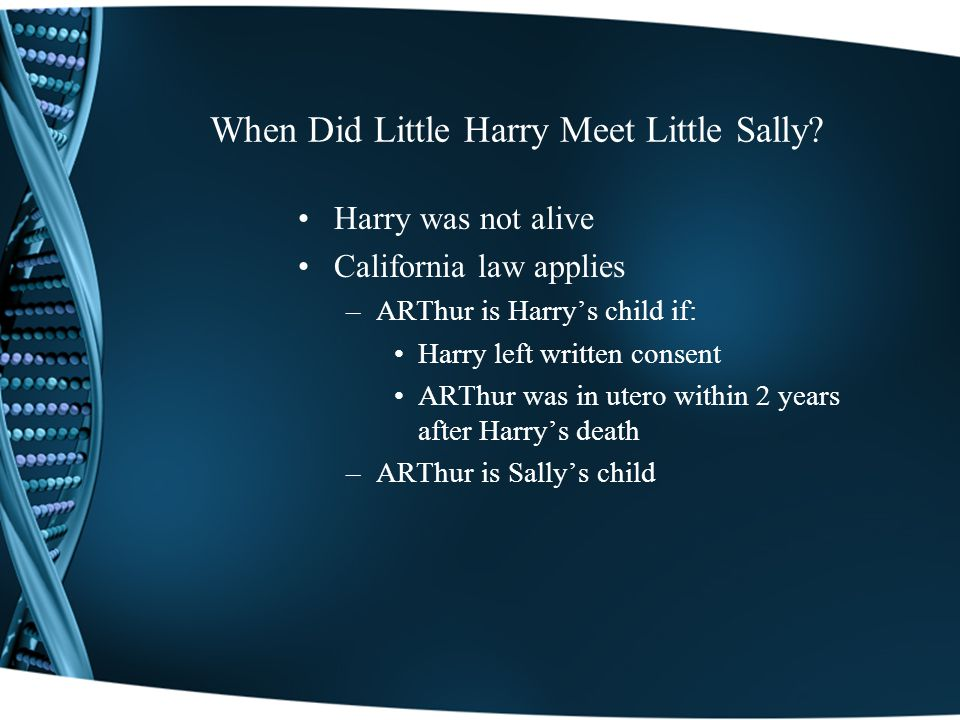 When Did Little Harry Meet Little Sally.