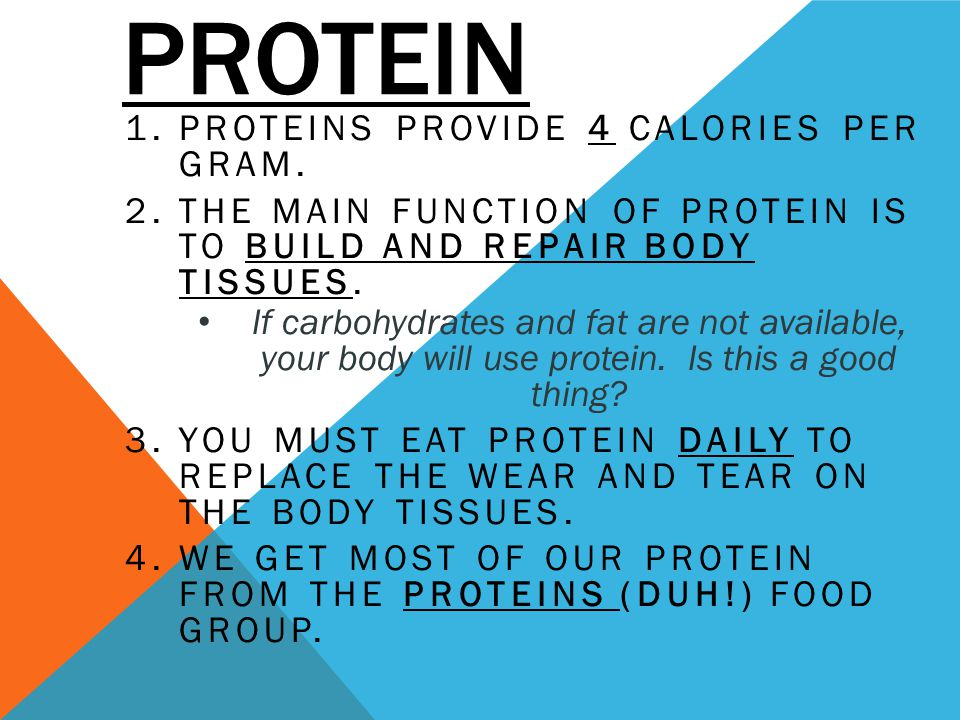 PROTEIN 1.PROTEINS PROVIDE 4 CALORIES PER GRAM. 2.THE MAIN FUNCTION OF PROTEIN IS TO BUILD AND REPAIR BODY TISSUES. If carbohydrates and fat are not a