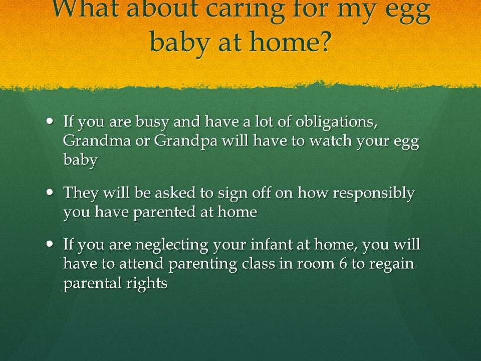 What about caring for my egg baby at home? If you are busy and have a lot of obligations, Grandma or Grandpa will have to watch your egg baby If you a