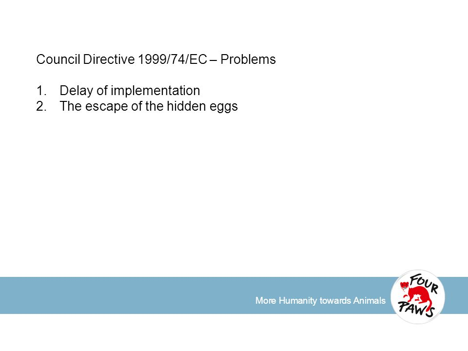 More Humanity towards Animals Council Directive 1999/74/EC – Problems 1.Delay of implementation 2.The escape of the hidden eggs