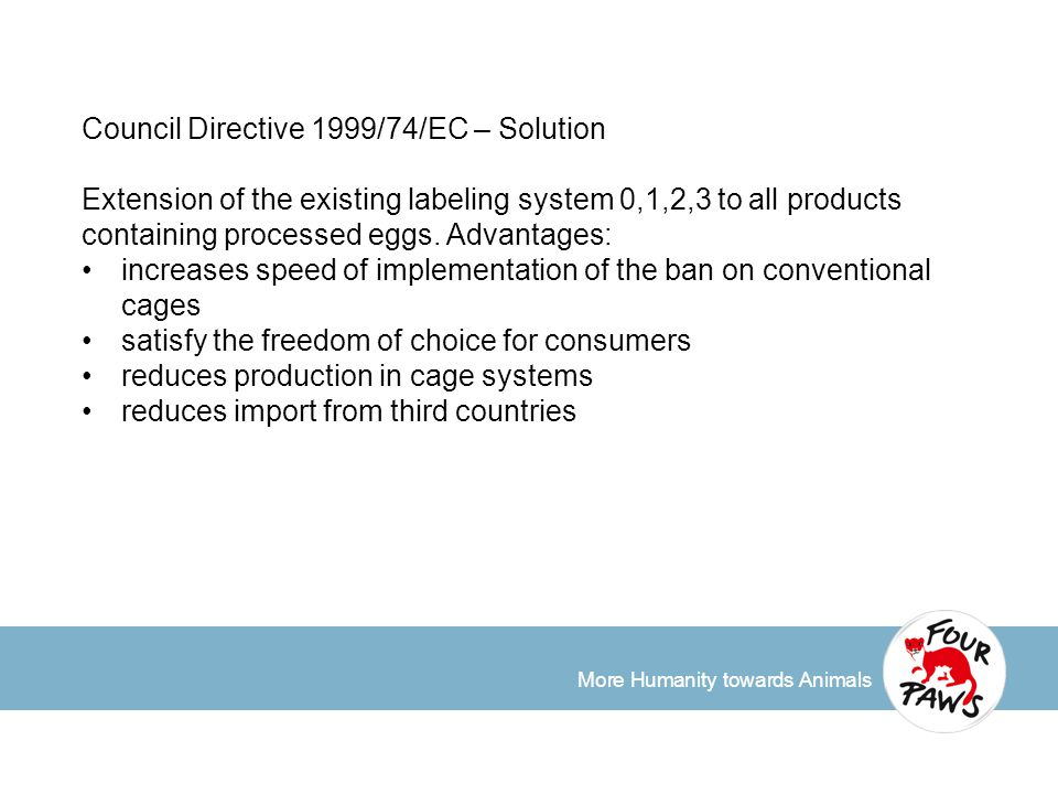More Humanity towards Animals Council Directive 1999/74/EC – Solution Extension of the existing labeling system 0,1,2,3 to all products containing pro
